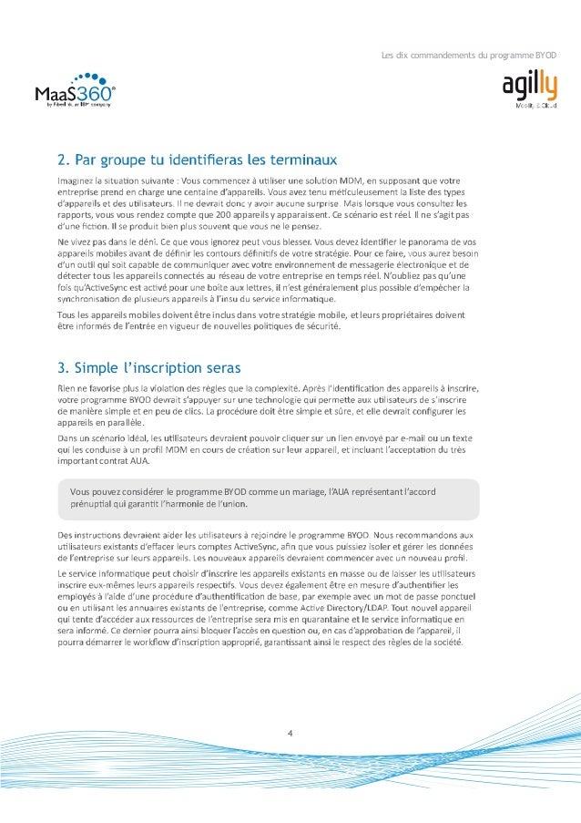 5 Les dix commandements du programme BYOD à de l'entreprise. E-mail, contacts et calendrier VPN Contenus et documents de l...