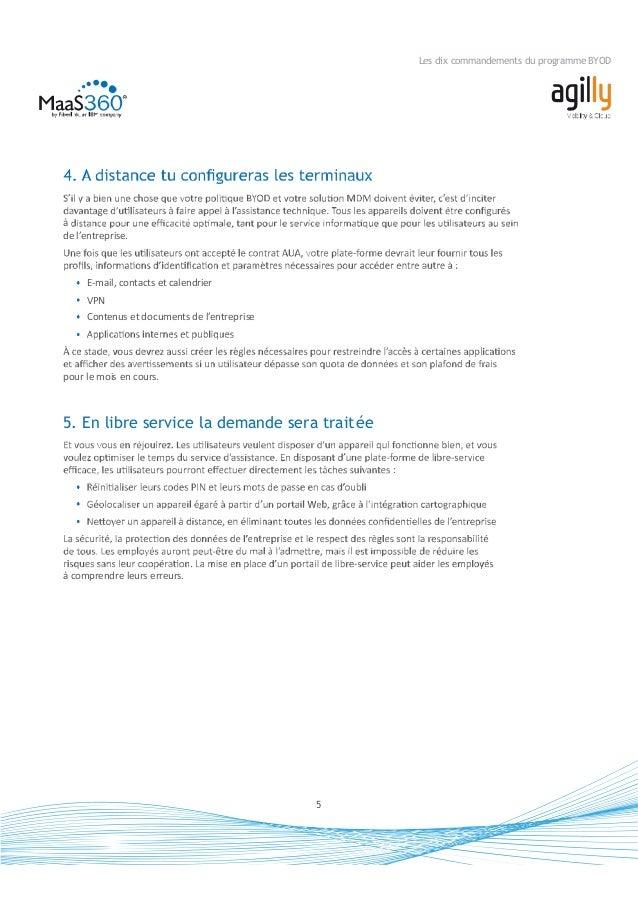 6 Les dix commandements du programme BYOD un accessibles et lesquelles ne lui sont pas, telles que : E-mails, contacts et ...