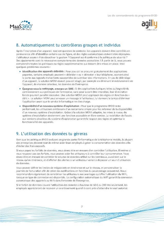 Les dix commandements du programme BYOD 10. Le retour sur investissement tu apprécieras Bien que le programmeBYOD rende le...