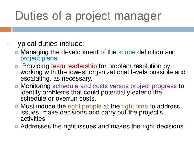 Roles of project managers in oe
