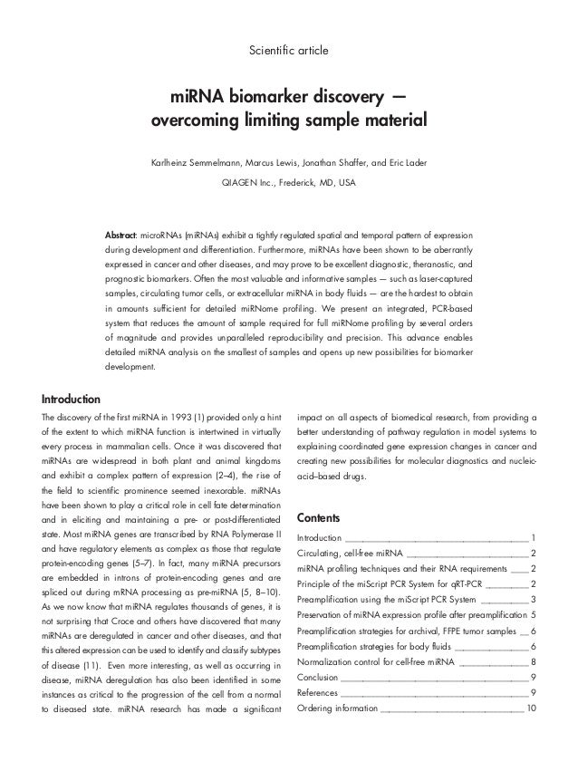 Scientific article  miRNA biomarker discovery — overcoming limiting sample material Karlheinz Semmelmann, Marcus Lewis, Jo...