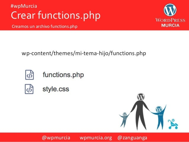 @wpmurcia wpmurcia.org @zanguanga #wpMurcia wp-content/themes/mi-tema-hijo/functions.php Crear functions.php Creamos un ar...