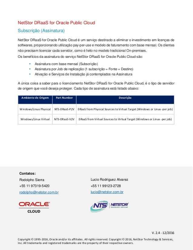 NetStor DRaaS for Oracle Public Cloud
