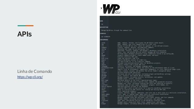 APIs Linha de Comando https://wp-cli.org/