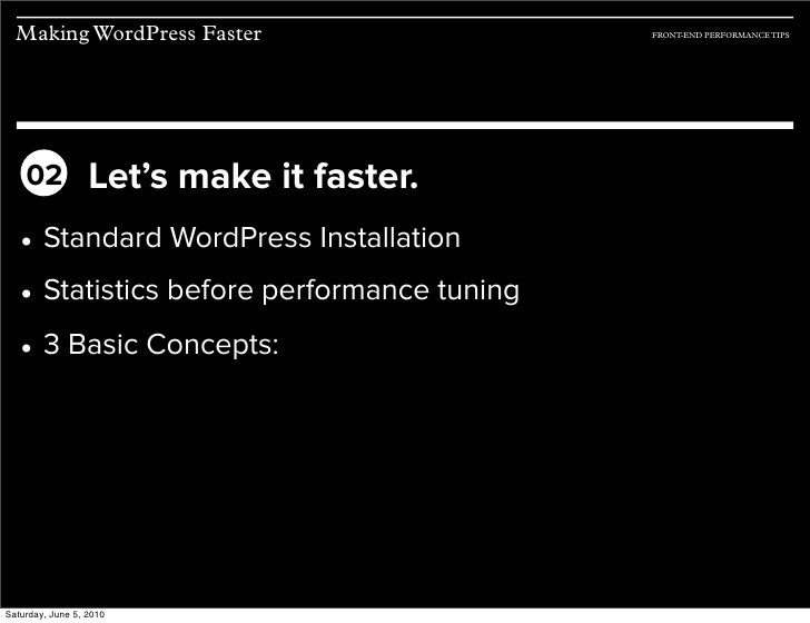 Making WordPress Faster: Front-end Performance Techniques slideshare - 웹