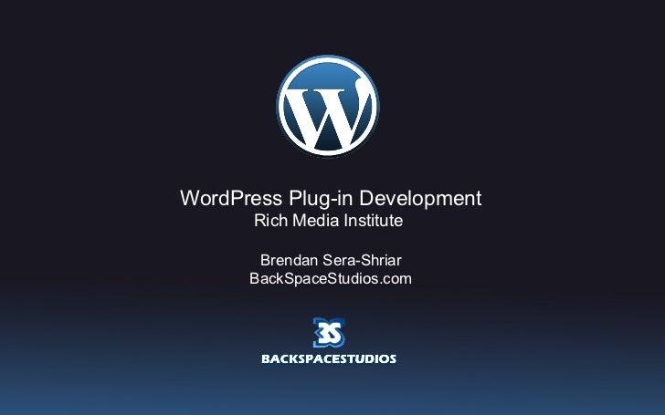 WordPress Plug-in Development Rich Media Institute  Brendan Sera-Shriar BackSpaceStudios.com