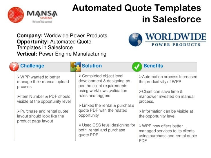 Automated Quote Templates                                                    in Salesforce    Company: Worldwide Power Pro...