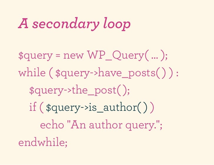A secondary loop$query = new WP_Query( … );while ( $query->have_posts( ) ) :  $query->the_post( );  if ( $query->is_author...