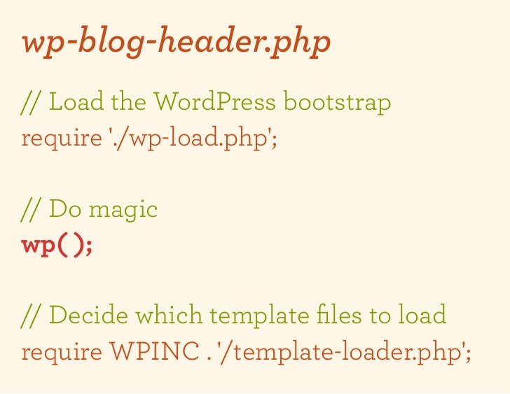 wp-blog-header.php// Load the WordPress bootstraprequire ./wp-load.php;// Do magicwp( );// Decide which template files to l...