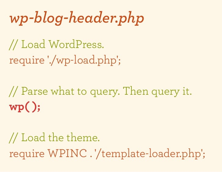 wp-blog-header.php// Load WordPress.require ./wp-load.php;// Parse what to query. Then query it.wp( );// Load the theme.re...