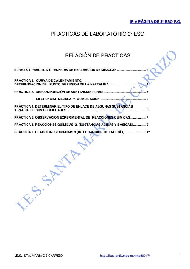 IR A PÁGINA DE 3º ESO F.Q.                                PRÁCTICAS DE LABORATORIO 3º ESO                                 ...