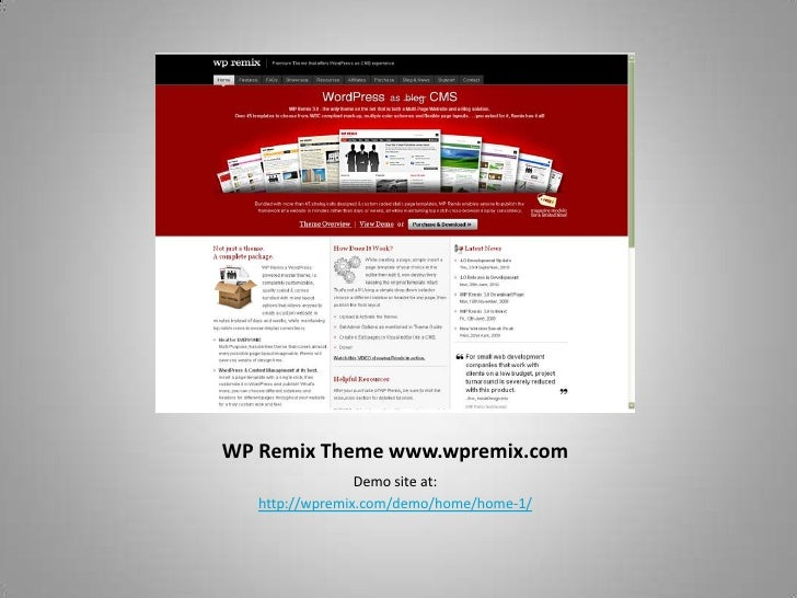 WP Remix Theme www.wpremix.com<br />Demo site at:<br />http://wpremix.com/demo/home/home-1/<br />