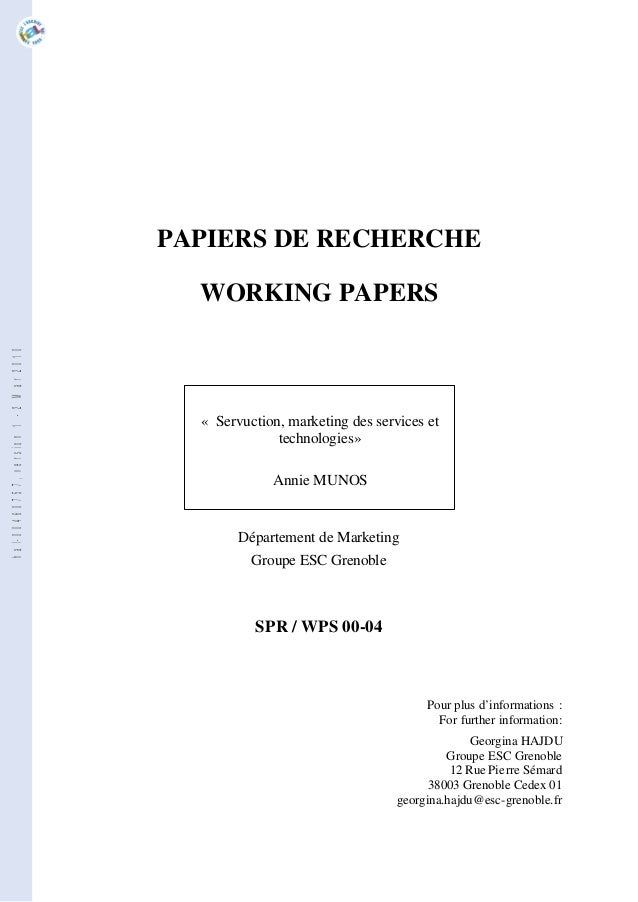 PAPIERS DE RECHERCHE                                         WORKING PAPERShal-00460757, version 1 - 2 Mar 2010           ...