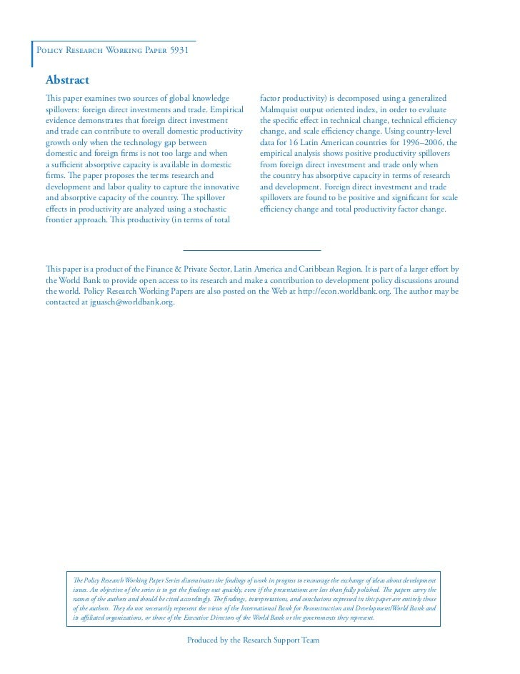 Policy Research Working Paper 5931  Abstract  This paper examines two sources of global knowledge                         ...