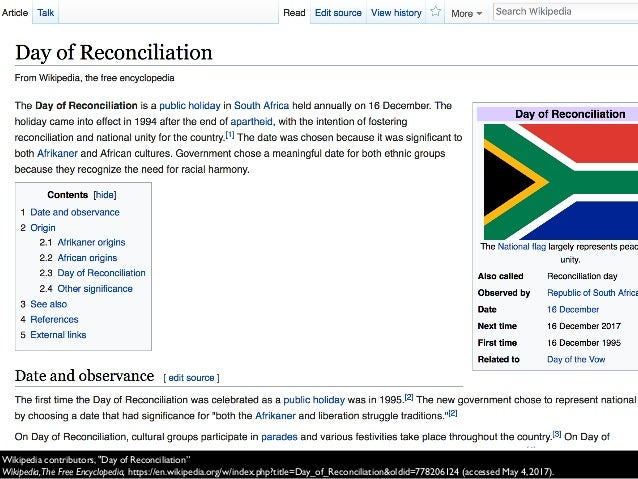 """Wikipedia contributors, """"Day of Reconciliation"""" Wikipedia,The Free Encyclopedia, https://en.wikipedia.org/w/index.php?titl..."""
