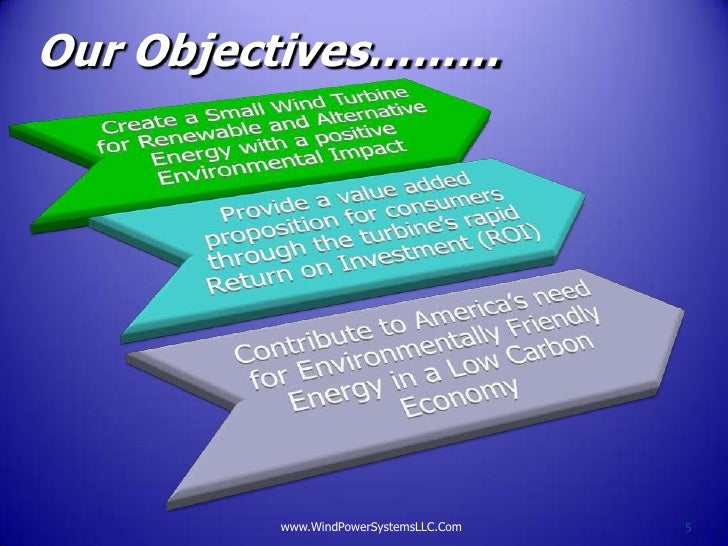 Our Objectives………        www.WindPowerSystemsLLC.Com   5