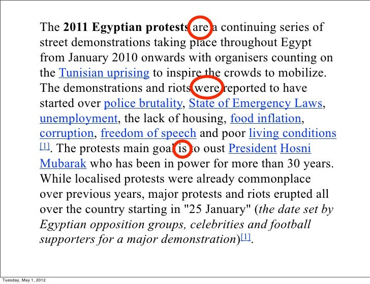 The 2011 Egyptian protests are a continuing series of                 street demonstrations taking place throughout Egypt ...