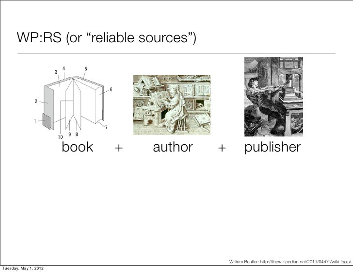"""WP:RS (or """"reliable sources"""")                       book   +   author   +          publisher                              ..."""