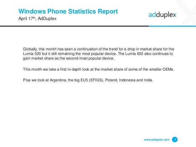 AdDuplex Windows Phone Device Statistics for April, 2015 Slide 2