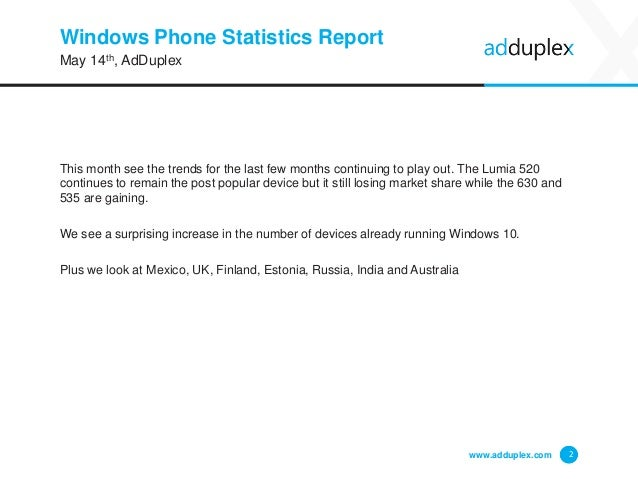 Windows Phone device statistics for May, 2015 Slide 2