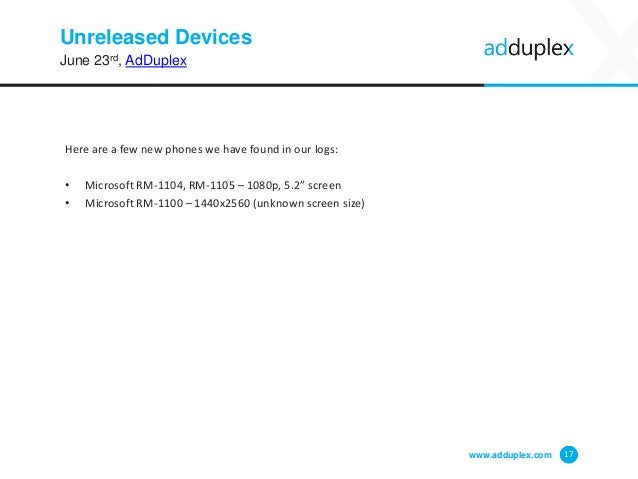 Unreleased Devices www.adduplex.com 17 June 23rd, AdDuplex Here are a few new phones we have found in our logs: • Microsof...