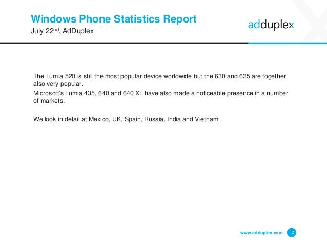 Windows Phone Statistics Report The Lumia 520 is still the most popular device worldwide but the 630 and 635 are together ...
