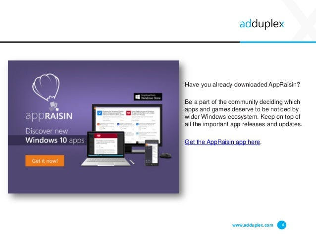 www.adduplex.com 4 Have you already downloaded AppRaisin? Be a part of the community deciding which apps and games deserve...
