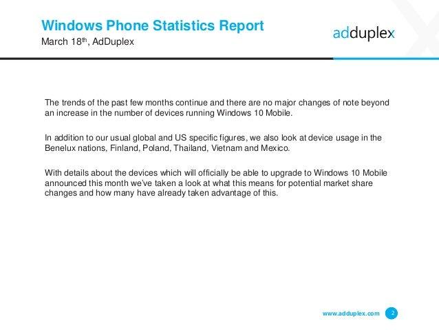 AdDuplex Windows Phone Statistics Report - March, 2016 Slide 2