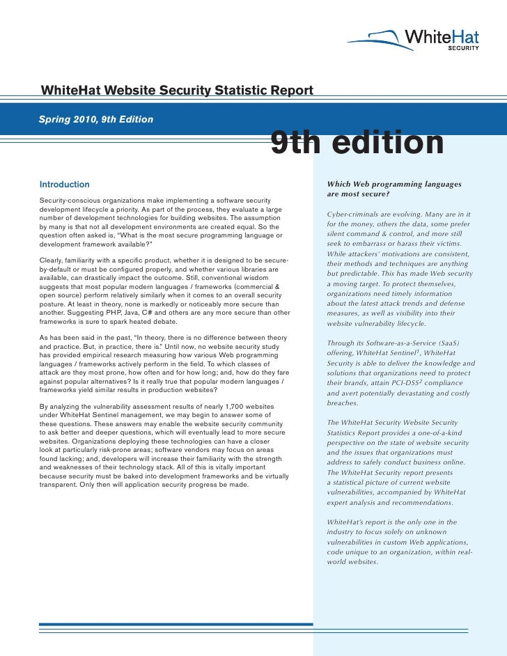 WhiteHat Website Security Statistic Report  Spring 2010, 9th Edition                                                      ...