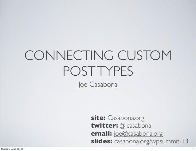 CONNECTING CUSTOMPOSTTYPESJoe Casabonasite: Casabona.orgtwitter: @jcasabonaemail: joe@casabona.orgslides: casabona.org/wps...