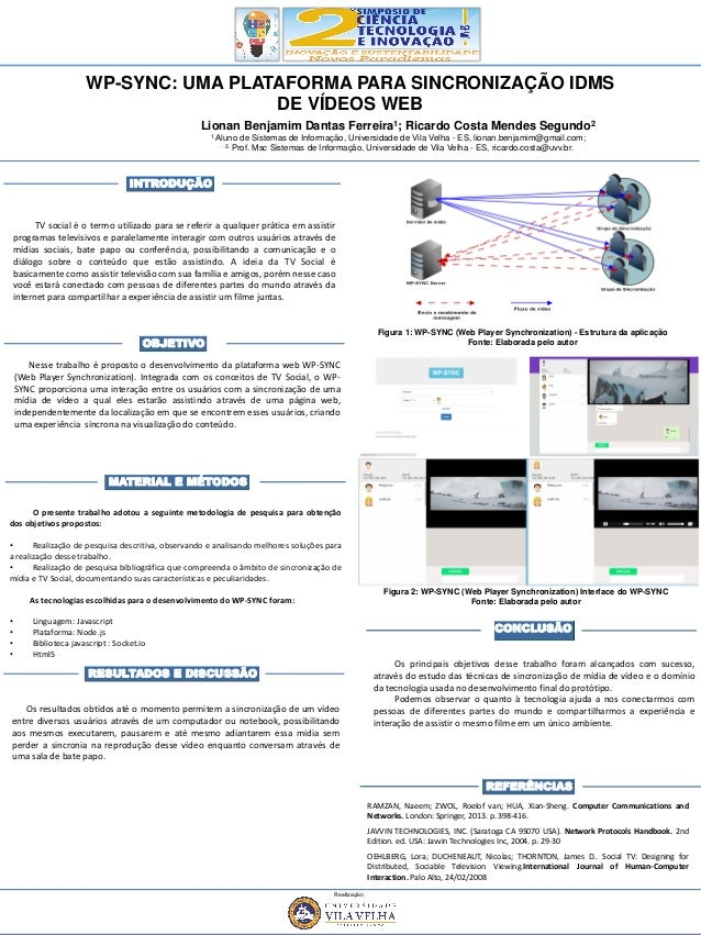 WP-SYNC: UMA PLATAFORMA PARA SINCRONIZAÇÃO IDMS DE VÍDEOS WEB O presente trabalho adotou a seguinte metodologia de pesquis...