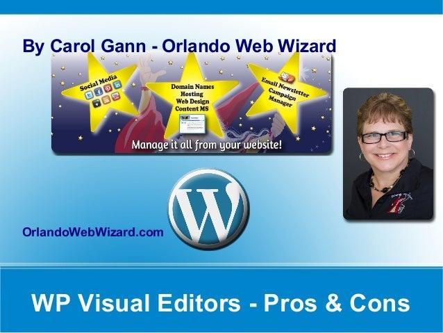 WP Visual Editors - Pros & ConsBy Carol Gann - Orlando Web WizardOrlandoWebWizard.com