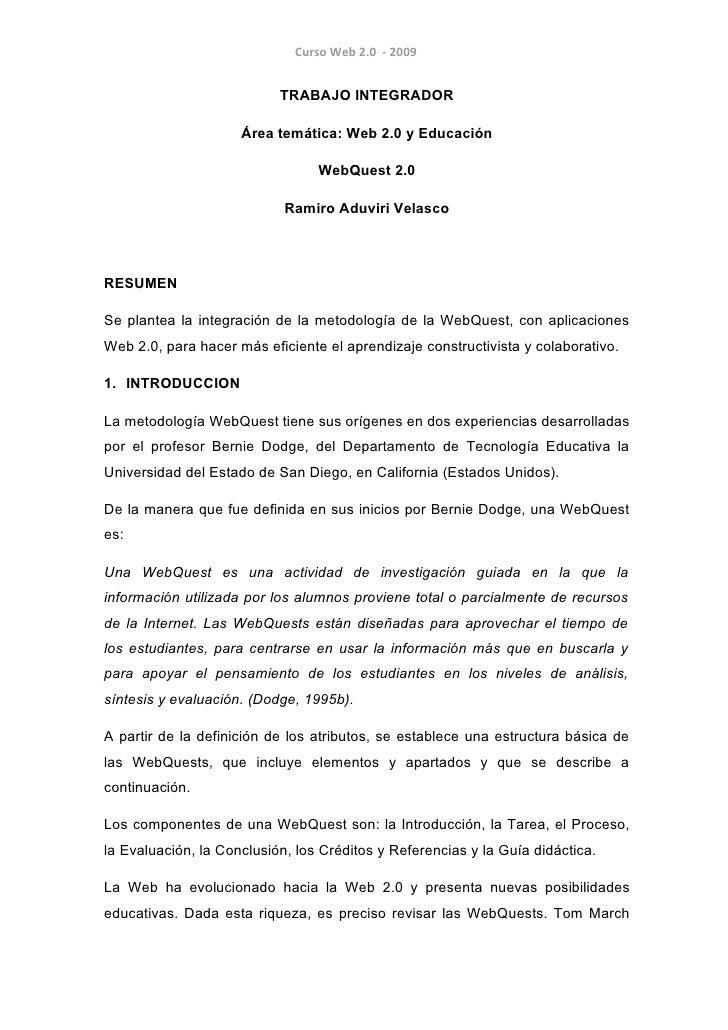 Curso Web 2.0 - 2009                              TRABAJO INTEGRADOR                       Área temática: Web 2.0 y Educac...
