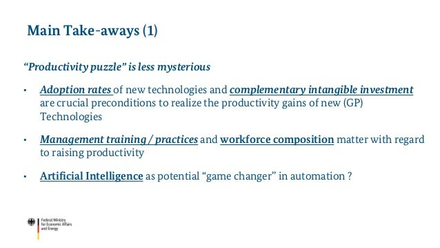 """""""Productivity puzzle"""" is less mysterious • Adoption rates of new technologies and complementary intangible investment are ..."""