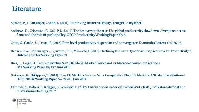 Aghion, P., J. Boulanger, Cohen, E. (2011). Rethinking Industrial Policy, Bruegel Policy Brief Andrews, D., Criscoulo , C....
