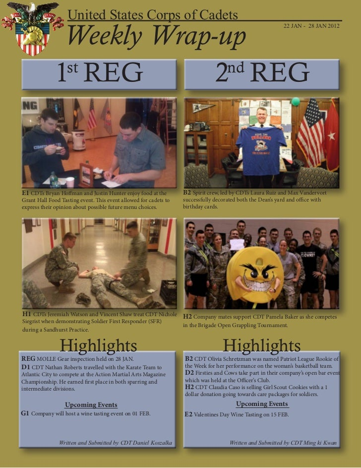 United States Corps of Cadets               Weekly Wrap-up                                                                ...