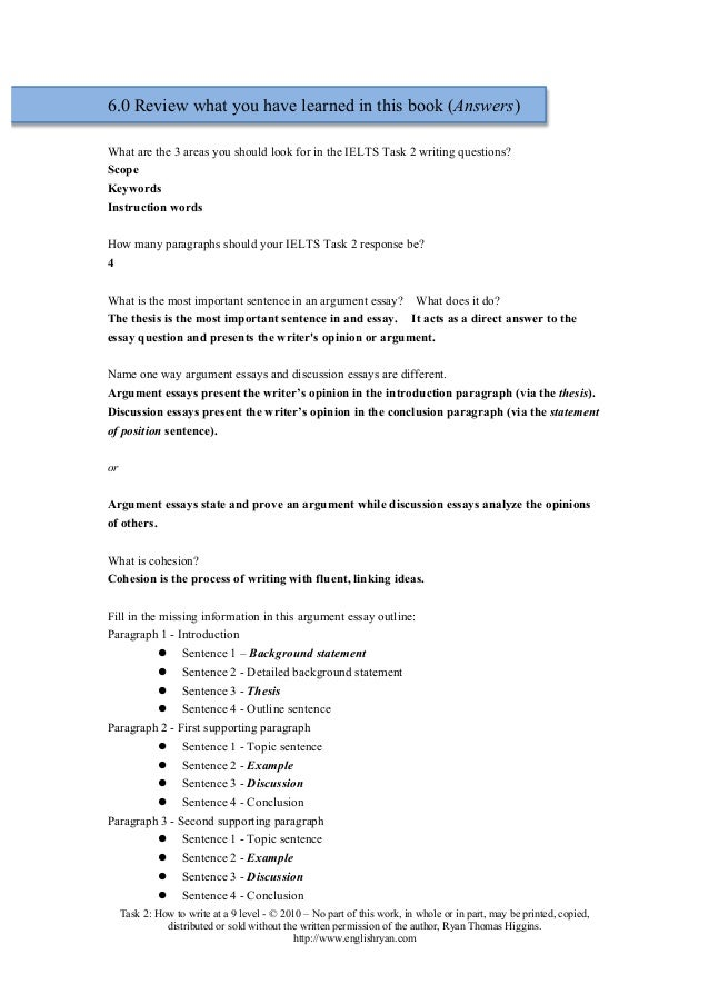 how to write thesis statement in task 2