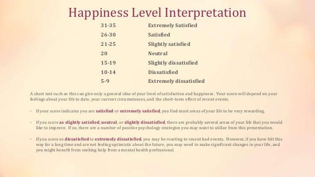 Happiness Level Interpretation 31-35 Extremely Satisfied 26-30 Satisfied 21-25 Slightly satisfied 20 Neutral 15-19 Slightl...