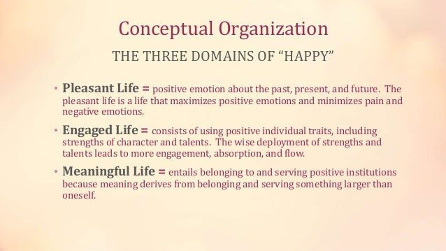 """Conceptual Organization THE THREE DOMAINS OF """"HAPPY"""" • Pleasant Life = positive emotion about the past, present, and futur..."""