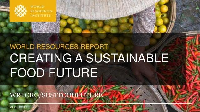 #SUSTFOODFUTURE WRI.ORG/SUSTFOODFUTURE WORLD RESOURCES REPORT CREATING A SUSTAINABLE FOOD FUTURE