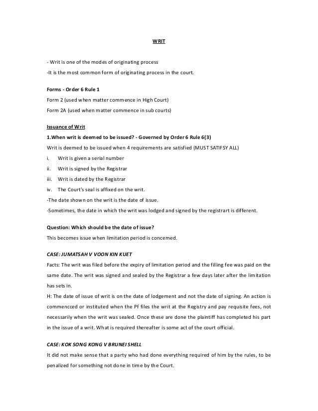 Modes Of Commencement Civil Procedure