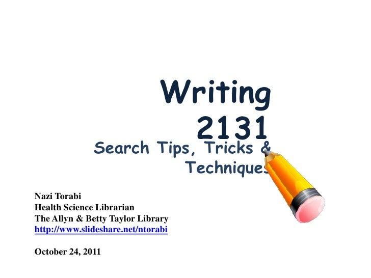 Writing                          2131              Search Tips, Tricks &                                    TechniquesNazi...