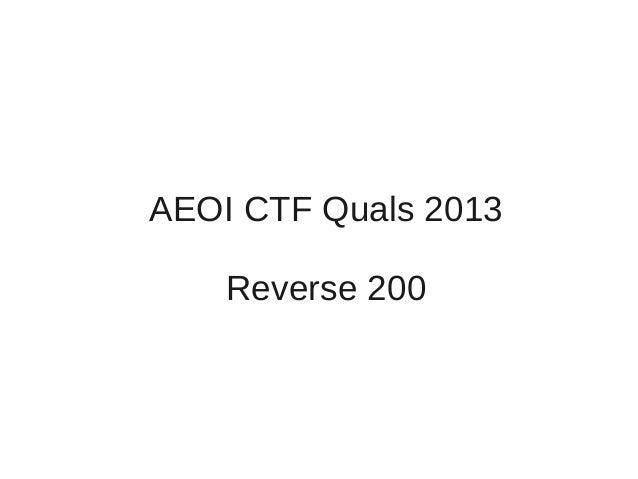 AEOI CTF Quals 2013Reverse 200