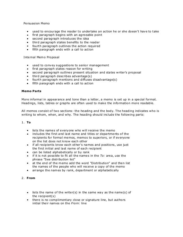 internal business memo format