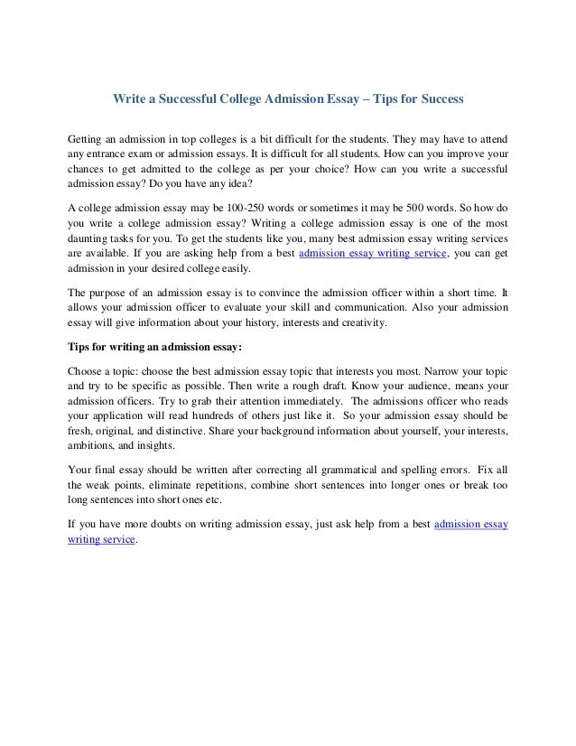 Essay success write a successful college admission essay tips for