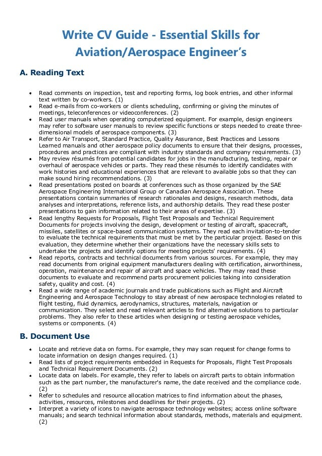 Write CV Guide   Essential Skills For Aviation/Aerospace Engineeru0027sA.  Aerospace Engineering Resume