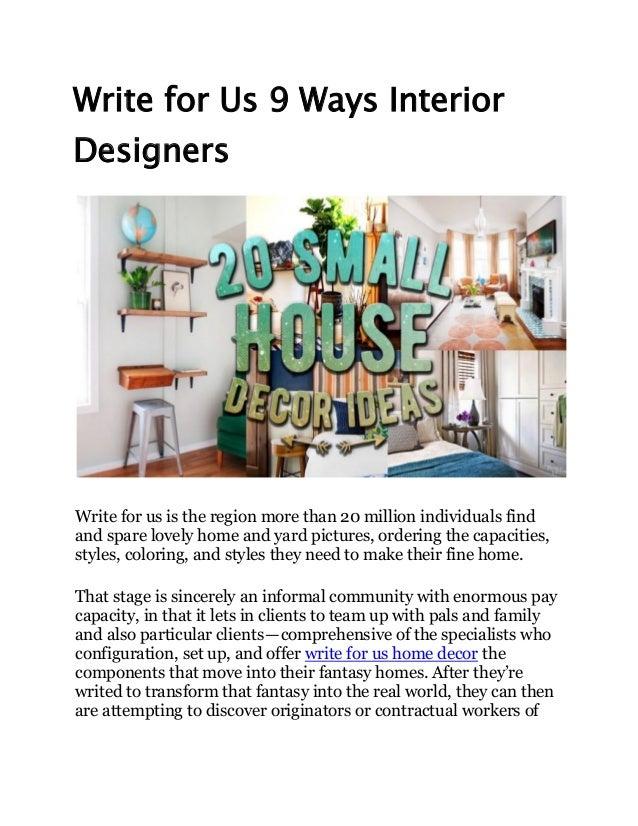 Write for us 9 ways interior designers