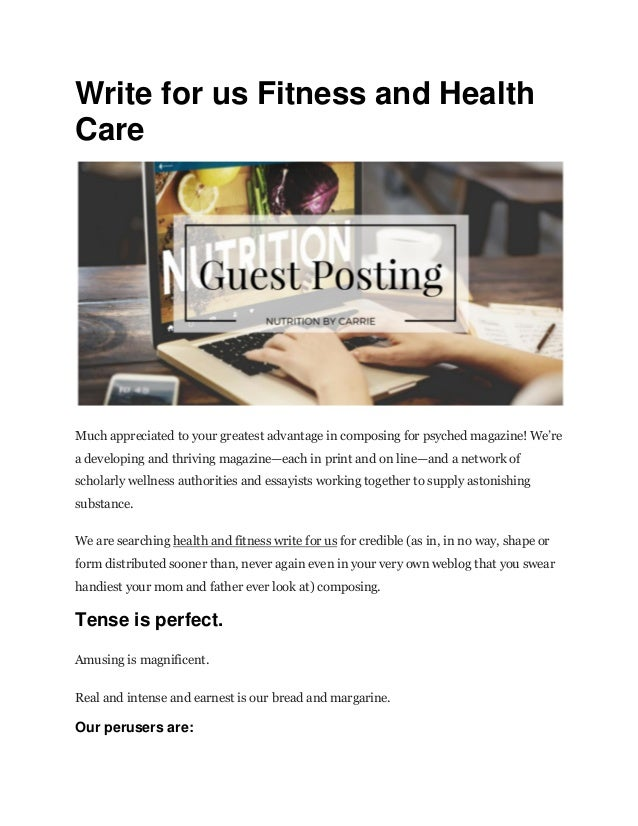 Write for us fitness and health care