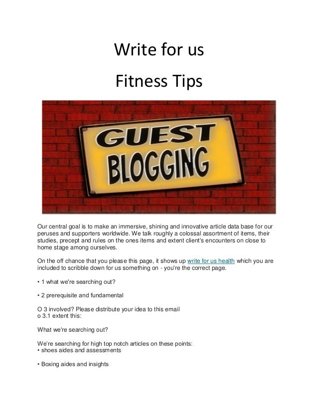 Write for us Fitness Tips