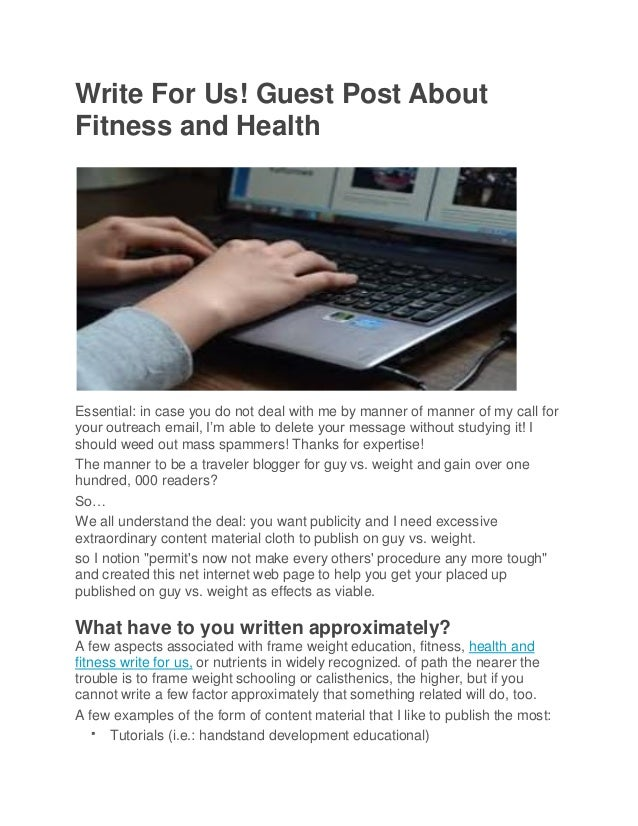 Write for us! guest post about fitness and health